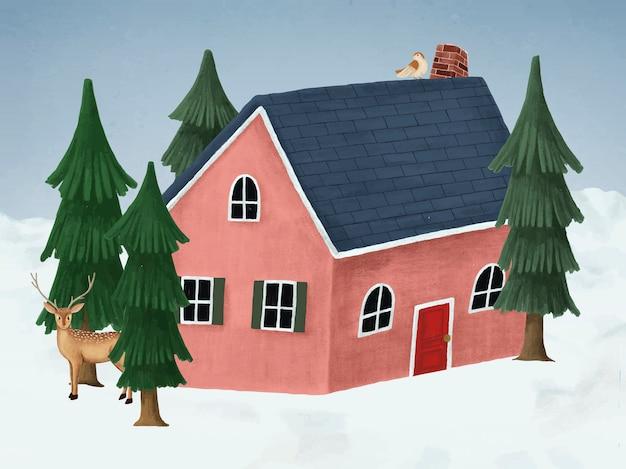 Рисованный красный дом в белую рождественскую ночь