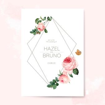 結婚式の誘惑カードは、バラで飾られた
