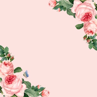 パステルピンクの背景に描かれたピンクのバラのフレーム