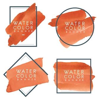 オレンジ色の水彩バナーのセット