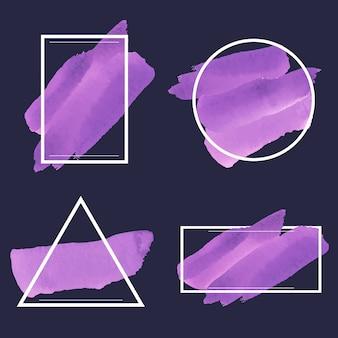紫の水彩バナーのセット