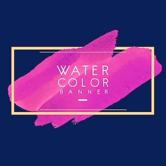 マゼンタの水彩バナー