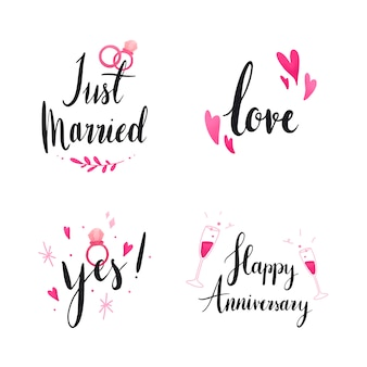 結婚式と愛のタイポグラフィのセット