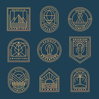 Набор приключенческих логотипов