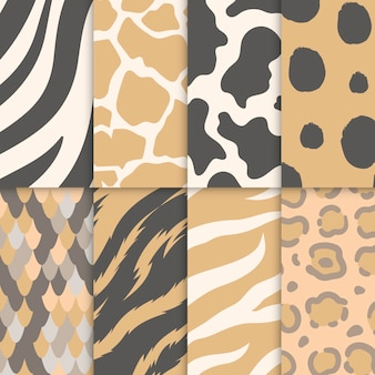 シームレスな動物のプリントパターンのセット