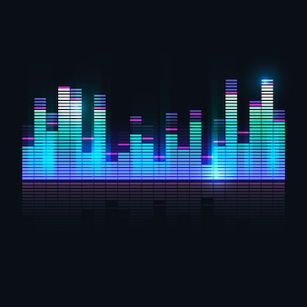 カラフルな音波のイコライザー