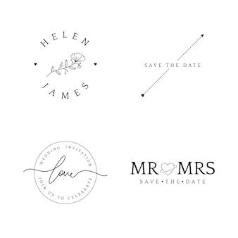 Набор значков приглашения на свадьбу