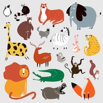Коллекция симпатичных диких животных в векторе мультяшного стиля