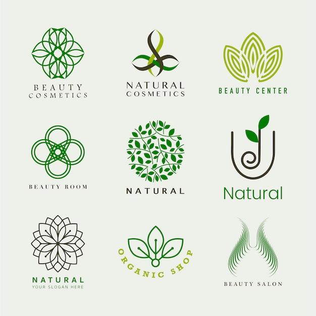 天然化粧品ロゴベクトルのセット