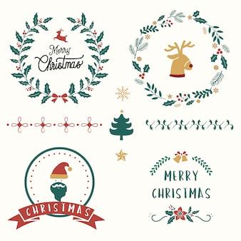 クリスマスバッジのベクトルのセット