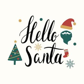 こんにちはサンタクリスマス挨拶バッジベクトル