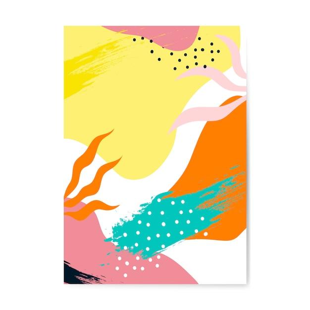 Цветной вектор плаката в стиле мемфис