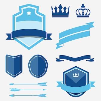 青いラベルの装飾ベクトルのセット