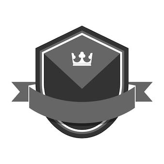 Серый значок, украшенный баннером