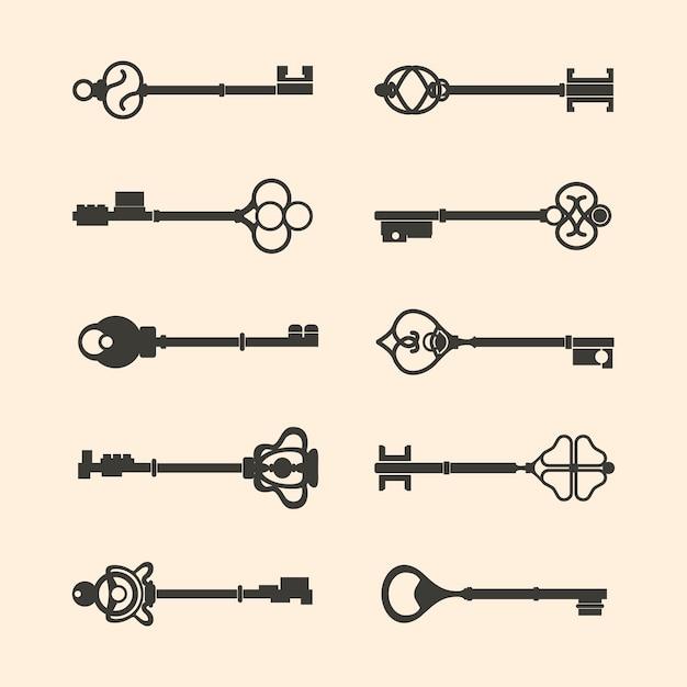 ヴィンテージデザインのキーベクトルのセット