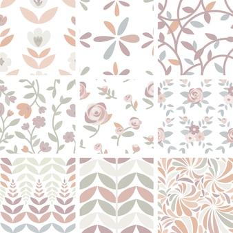 Набор рисованных роз и растений иллюстрации