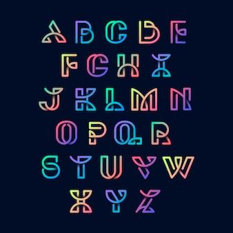 カラフルなレトロなアルファベットのベクトルセット