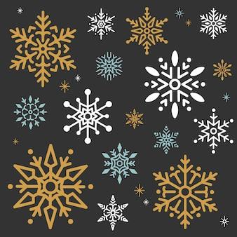 スノーフレーククリスマスデザインの背景ベクトル