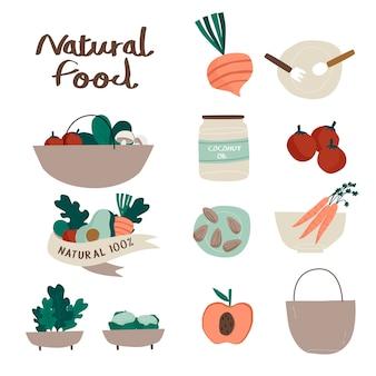 自然と有機食品のバッジベクトルのセット