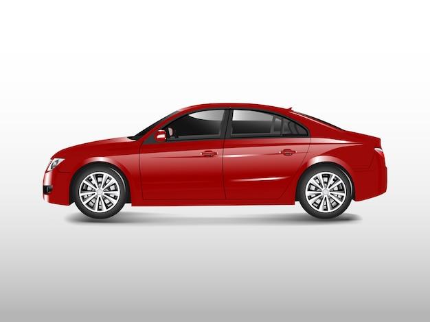 白いベクトルに隔離された赤いセダンの車