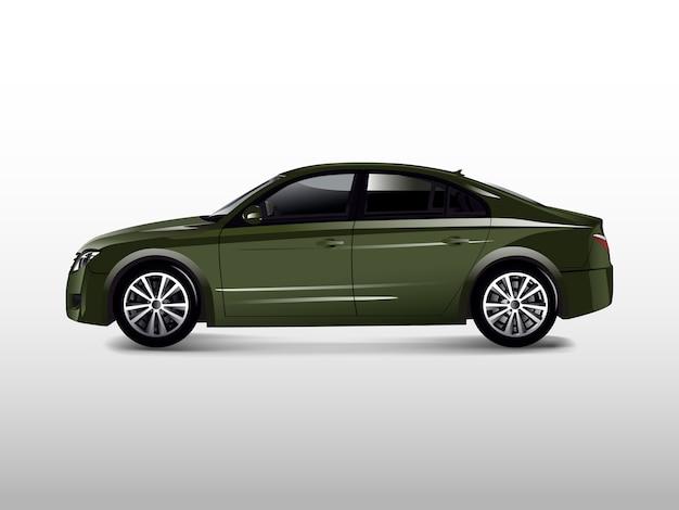 Зеленый автомобиль седан, изолированных на белом фоне