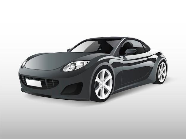 灰色のスポーツカーは白いベクトルで分離