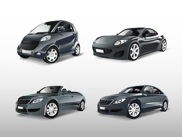 様々な灰色の車のベクトルのセット