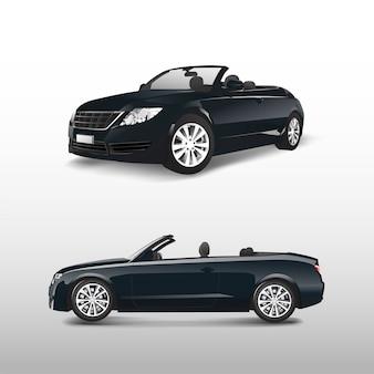 白いベクトルで分離した黒のコンバーチブル車