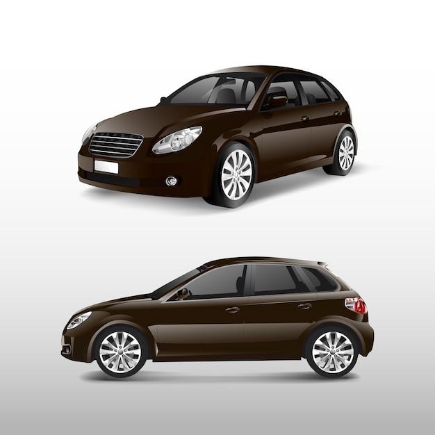 茶色のベクトルのハッチバック車