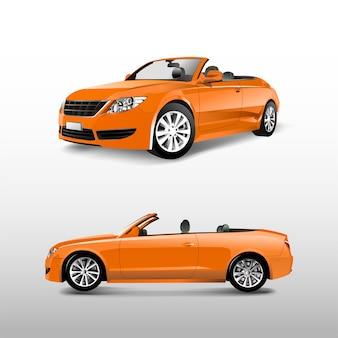 白いベクトルに分離したオレンジ色のコンバーチブル車