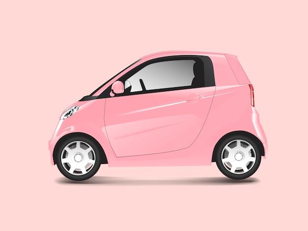Розовый компактный гибридный автомобиль