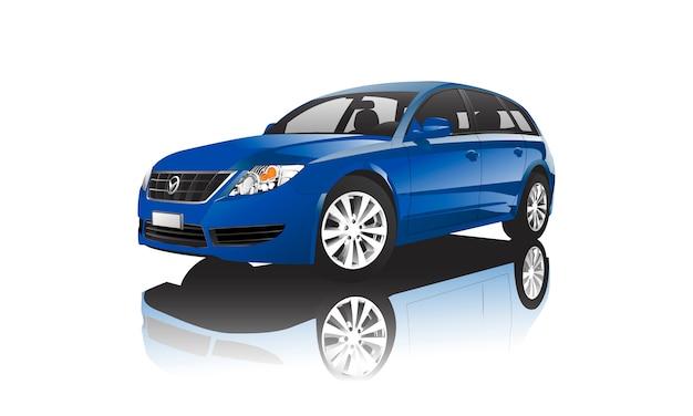 Синий хэтчбек автомобиль, изолированных на белом вектор