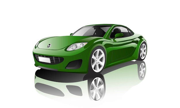 白いベクトルに隔離された緑のスポーツカー