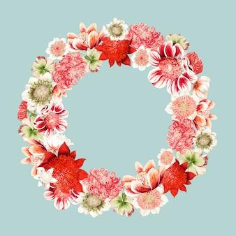 花輪の形をしたアネモネの花のヴィンテージイラスト