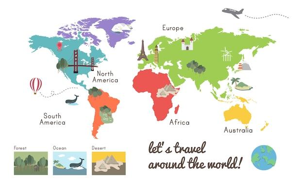 世界大陸地図所在地図イラストレーション