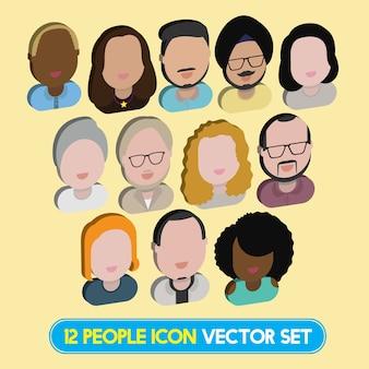 多様性異人種コミュニティの人々フラットデザインのアイコンコンセプト