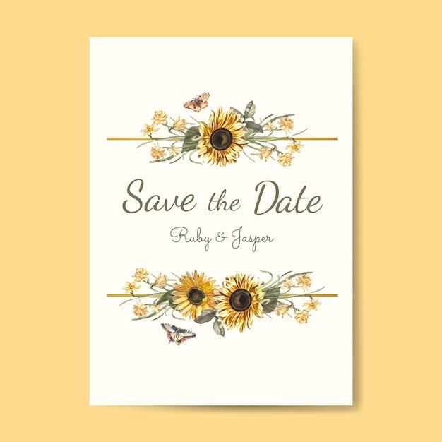 結婚式招待状モックアップベクターを保存する