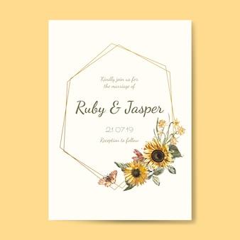 結婚式招待状のモックアップベクトル