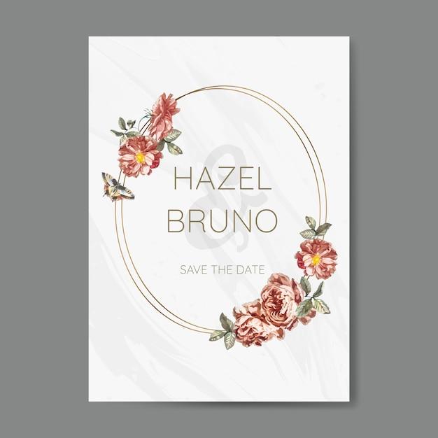 花嫁の結婚式招待状モックアップベクトル