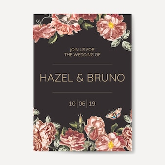 Цветочный свадебный пригласительный макет вектор