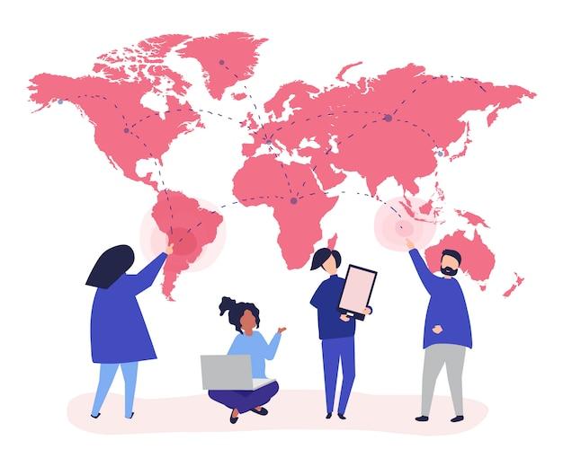 グローバルネットワークコンセプトの人々のキャラクターイラスト