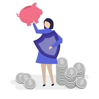 彼女の個人的な財政を計画している女性