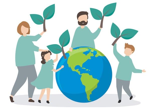 Семья заботится об окружающей среде