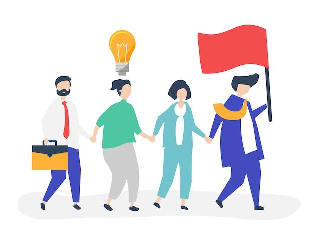 Деловые люди следуют за лидером, чтобы найти новый рынок