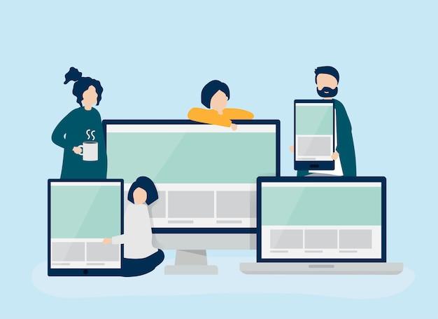 ウェブデザインのコンセプトイラストを持つ人々