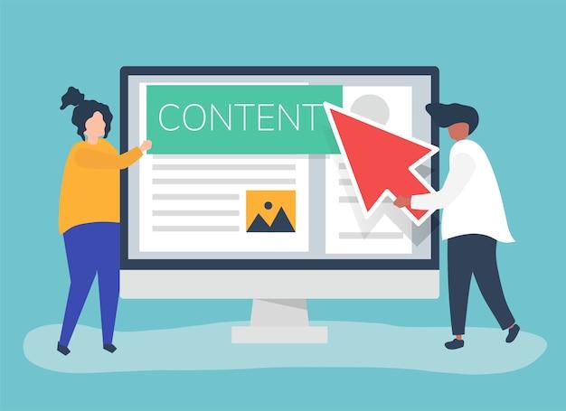 デジタルコンテンツ作成コンセプトを持つ人々