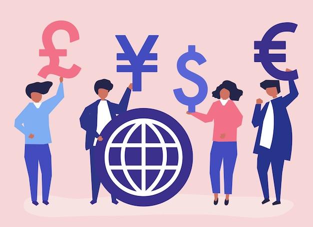 Люди, несущие разные валюты знак