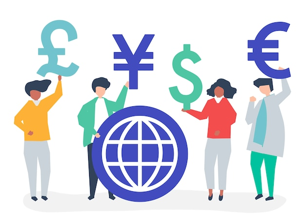 異なる通貨記号を運ぶ人々