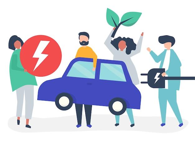 Группа людей с электромобилем