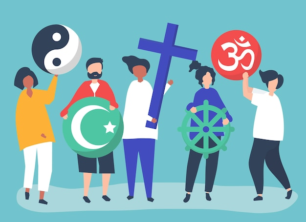多様な宗教シンボルを持つ人々イラスト
